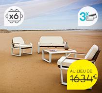Salon de Jardin Aluminium Blanc et Teck Miami 6 places 1399€   Salon