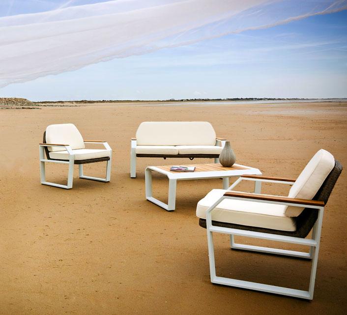 salon de jardin aluminium blanc et teck miami 6 places. Black Bedroom Furniture Sets. Home Design Ideas