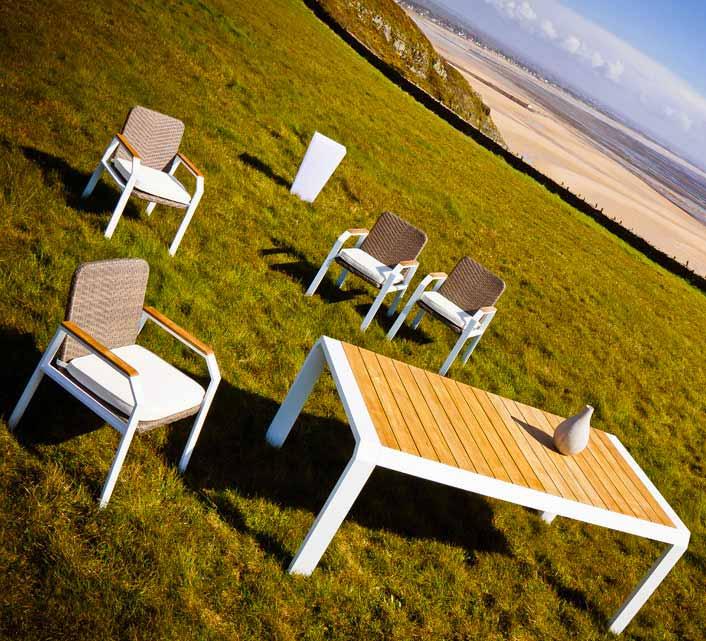 Salon de Jardin Aluminium 6 personnes Miami Table 160x100 Blanc 1199€