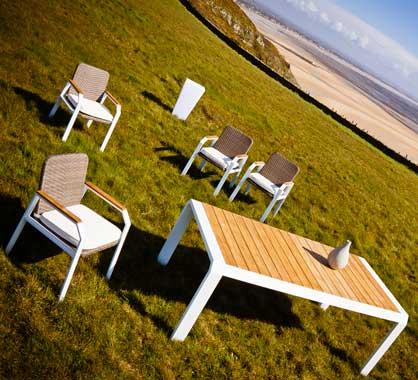 Salon De Jardin Aluminium Et Bois Teck 6 Personnes Table 160x100