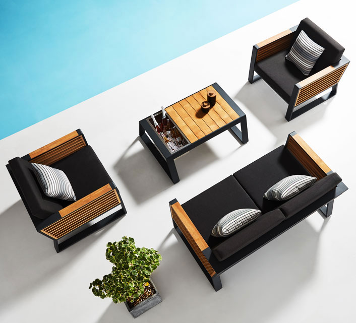 Salon de Jardin Aluminium 4 places Lounge Bora Noir Anthracite