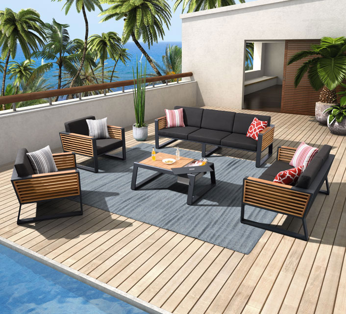 Salon de Jardin Aluminium 7 places Lounge Bora Noir Anthracite 3399 ...