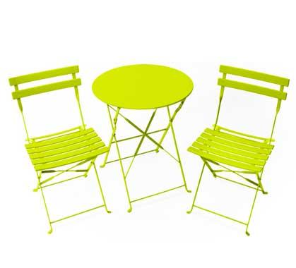 Salon de Jardin 2 personnes Table Pliante 60cm Pop Vert Anis ...