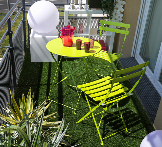 Salon de Jardin 2 personnes Table Pliante 60cm Pop Vert Anis Brillant