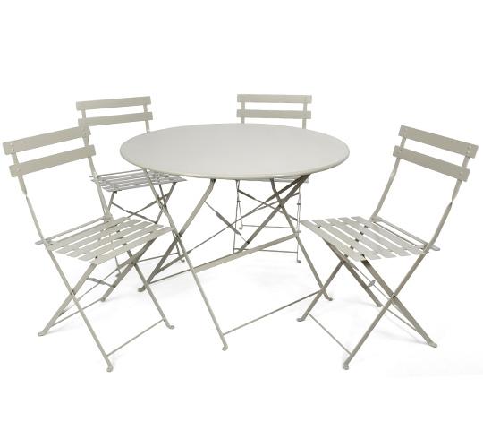 salon de jardin 4 personnes table pliante 95cm pop beige. Black Bedroom Furniture Sets. Home Design Ideas