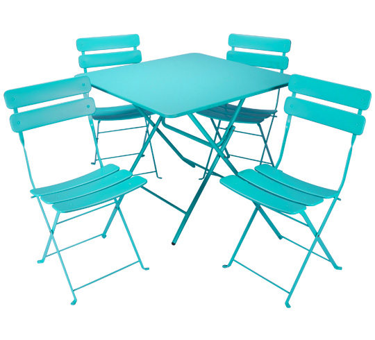 Salon de jardin pliant bleu turquoise mat 4 places 195 for Table 4 places