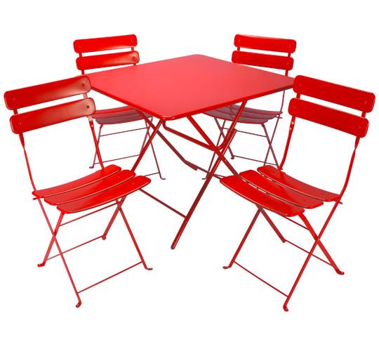 Table de Jardin Pliante 90x90cm Rouge Mat