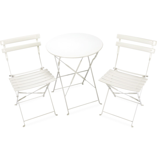 Salon de Jardin Pliant Pop Blanc Brillant 2 places