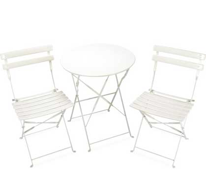 Salon de Jardin 2 personnes Table Pliante 60cm Pop Blanc Brillant 89 ...