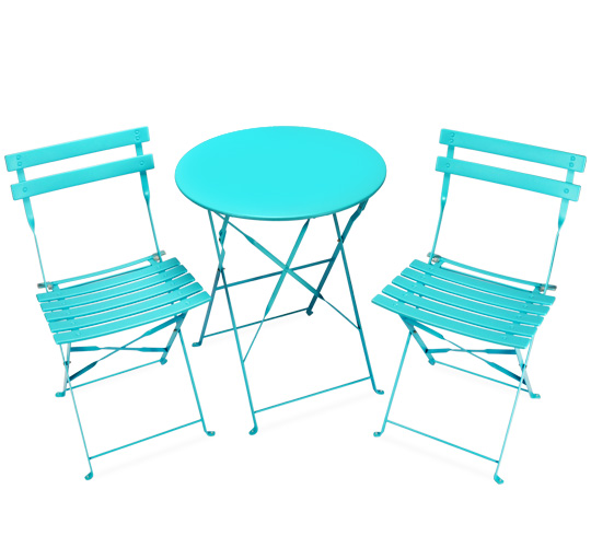 salon de jardin pliant pop bleu turquoise brillant 2 places 89 sal. Black Bedroom Furniture Sets. Home Design Ideas