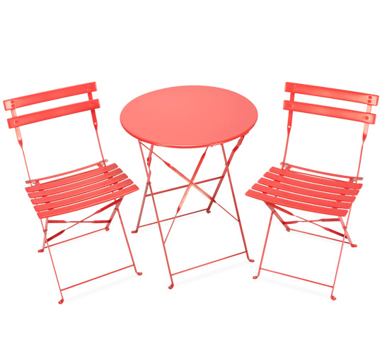 Salon de Jardin 2 personnes Table Pliante 60cm Pop Rouge Capucine