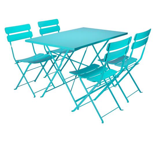 Salon de Jardin Rectangulaire Pliant Bleu Turquoise Mat 4 places