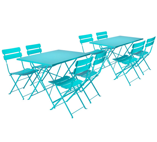 Salon De Jardin Rectangulaire Pliant Bleu Turquoise Mat 8