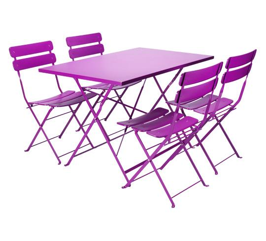 Salon de Jardin Rectangulaire Pliant Violet Mat 4 places 195€ | Salon