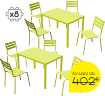 Salon de Jardin Paris Lux Vert Anis 8 places 339€ | Salon d\'été