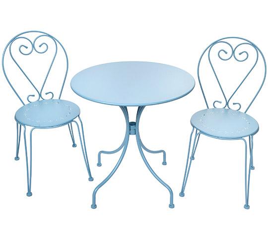 Salon de Jardin Romantique Bleu Pastel 2 places