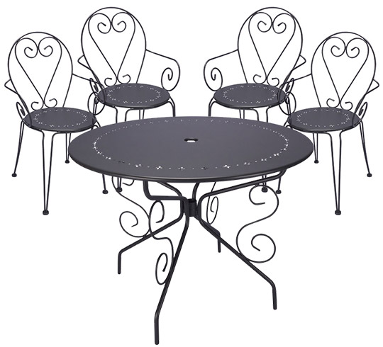 Beautiful table de jardin romantique metal pictures for Table jardin metal gris