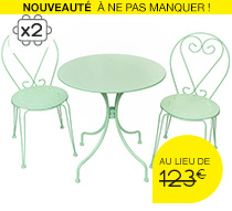 salon de jardin romantique vert d 39 eau 2 places 95 salon. Black Bedroom Furniture Sets. Home Design Ideas