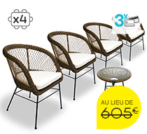 salon de jardin rotin synth tique champ tre chic ivoire 4 places 555. Black Bedroom Furniture Sets. Home Design Ideas