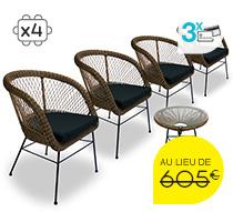 Salon de Jardin Rotin Synthétique Champêtre Chic Noir 4 places 555€ |