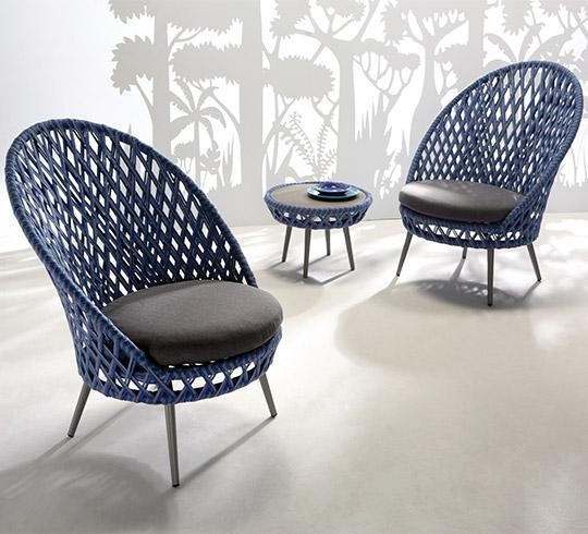 Ensemble Fauteuils de Jardin 2 Places Panama Tressé Bleu 779€ | Salon