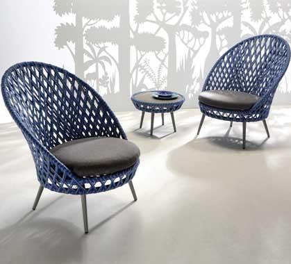 Ensemble 2 Fauteuils de Jardin Lounge Panama Tressé Bleu 779 ...