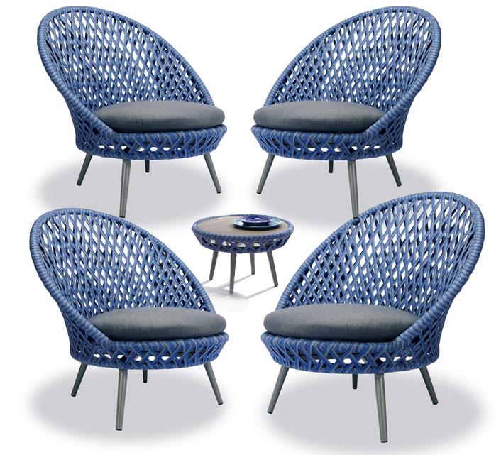 Salon de Jardin 4 Places Panama Tressé Bleu 1389€   Salon d été c82b523b2edc