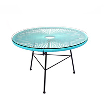 table basse acapulco fil bleu turquoise d80cm 129 salon d 39 t. Black Bedroom Furniture Sets. Home Design Ideas