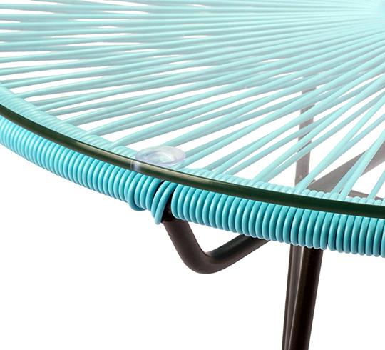 table basse acapulco fil bleu turquoise d80cm 129 salon d 39 t. Black Bedroom Furniture Sets. Home Design Ideas