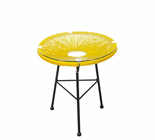 table d 39 appoint acapulco fil jaune d45cm 59 salon d 39 t. Black Bedroom Furniture Sets. Home Design Ideas