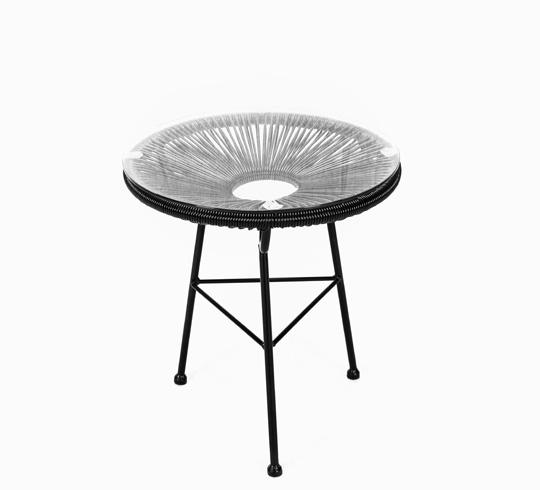 Table D\'appoint Acapulco D45cm Fil Noir 59€ | Salon d\'été