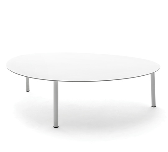 Table Gigogne de Jardin L110cm Forme Galet Grand Blanc