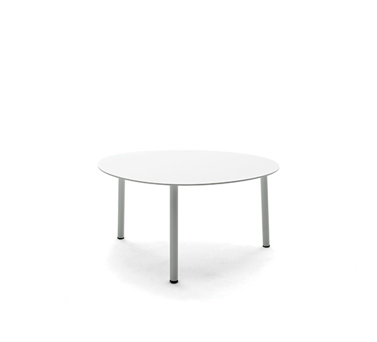 Table Gigogne de Jardin L55cm Forme Galet Petit Blanc