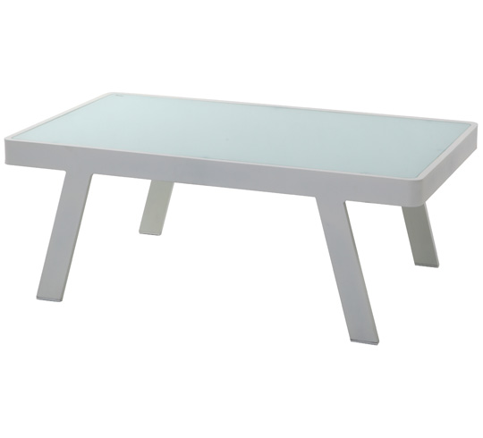 Table basse de jardin aluminium blanc 100 x 60 cm 129 salon d 39 t - Table basse en aluminium ...