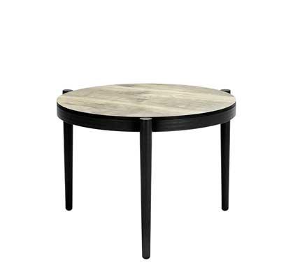 Table Basse de Jardin Aluminium Gris Effet Bois D60cm 129€ | Salon d\'été