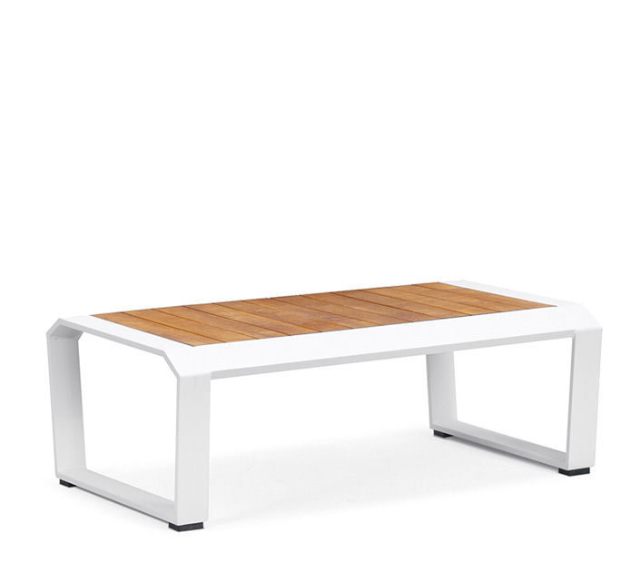 Table basse de jardin blanche teck alu miami 209 salon d 39 t - Table basse en aluminium ...