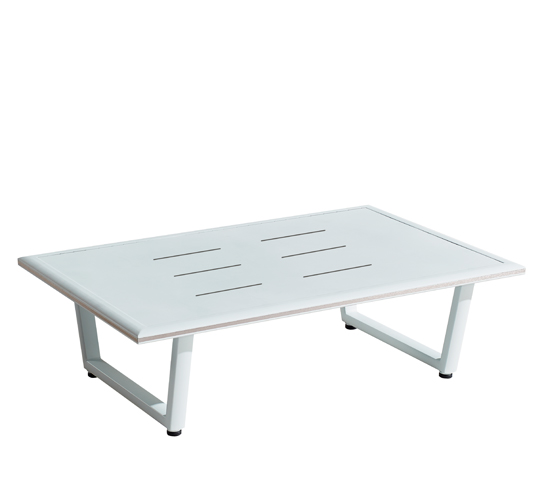 Table basse de Jardin 120x80cm Aluminium Havana Blanc