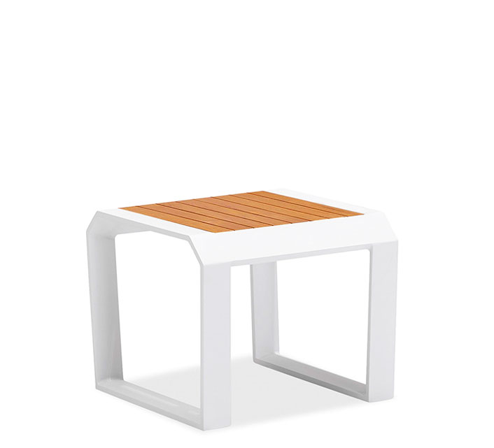 Table basse de Jardin Aluminium 55x55cm Lounge Miami Blanc 139 ...