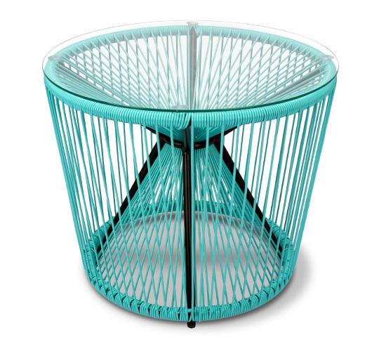 Table basse de Jardin D55cm Fil Bleu Turquoise Rio