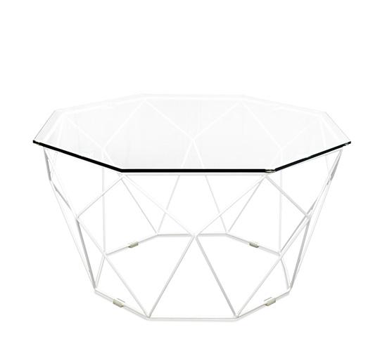 Table basse de Jardin Géométrique Métal Filaire Blanc 169€ | Salon d\'