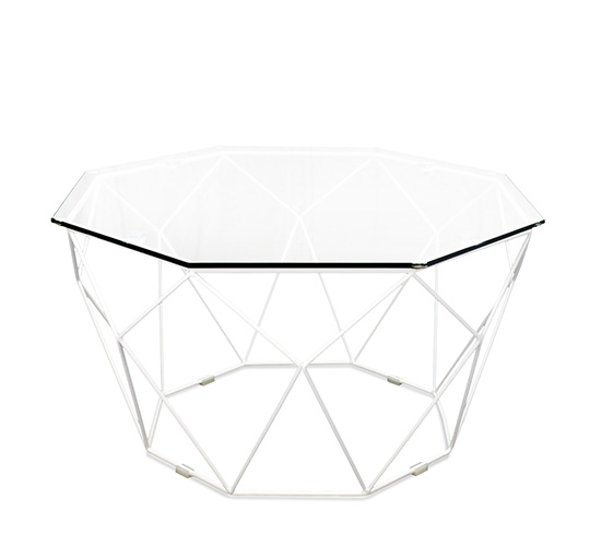 Table basse de jardin g om trique m tal filaire blanc 169 salon d 39 - Table de jardin blanche ...