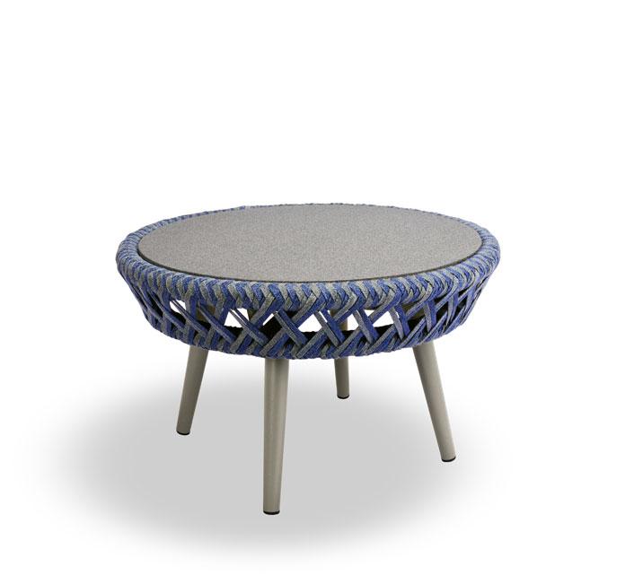 Table basse de Jardin Ronde Bleu Tressée Panama 169€ | Salon d\'été