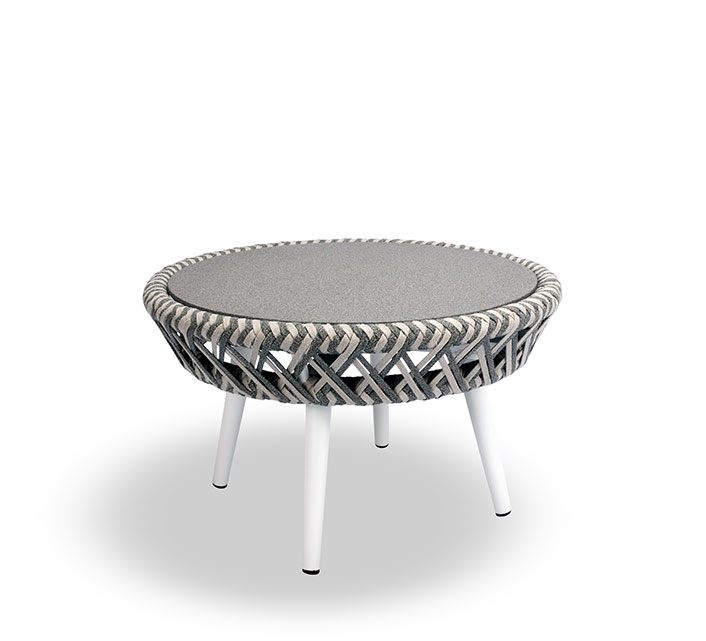 Table basse de Jardin Ronde Taupe Tressée Panama 169€ | Salon d\'été