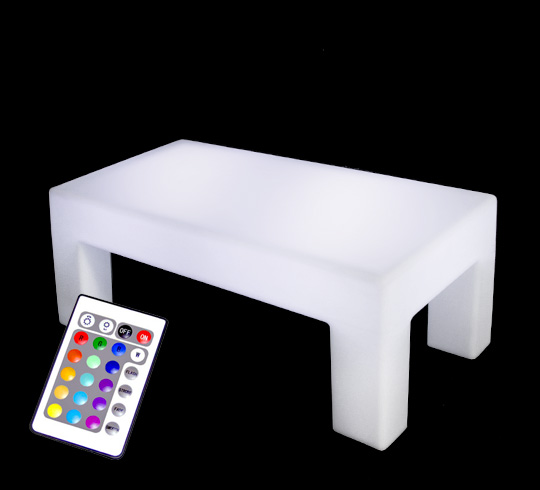table basse lumineuse led l120 cm rectangulaire ext rieure sans fil a. Black Bedroom Furniture Sets. Home Design Ideas