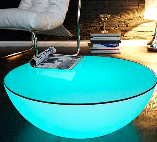 Table basse Lumineuse LED 60 cm Ronde Extérieure Sans Fil Avec Plateau