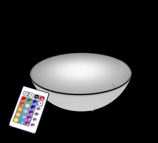 Table Basse Lumineuse Led 60 Cm Ronde Exterieure Sans Fil Avec