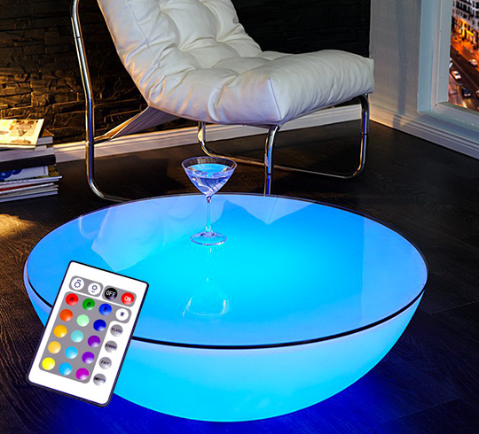 table basse lumineuse led 60 cm ronde ext rieure sans fil avec platea. Black Bedroom Furniture Sets. Home Design Ideas