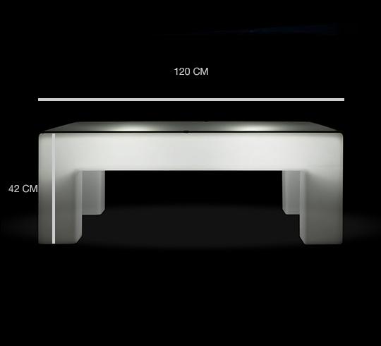 Table basse Lumineuse LED L120 cm Rectangulaire Extérieure Sans Fil Avec  Plateau