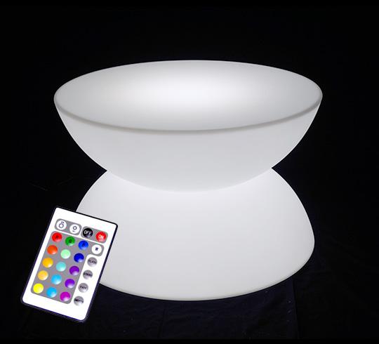 Table Basse Lumineuse Led D60 Cm Ronde Extérieure Sans Fil 195