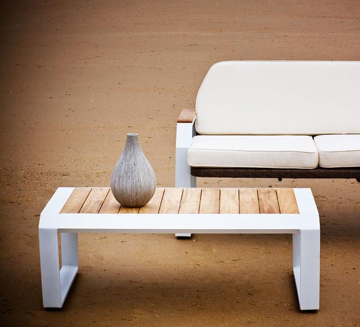 Table basse de Jardin Aluminium 100x65cm Lounge Miami Blanc